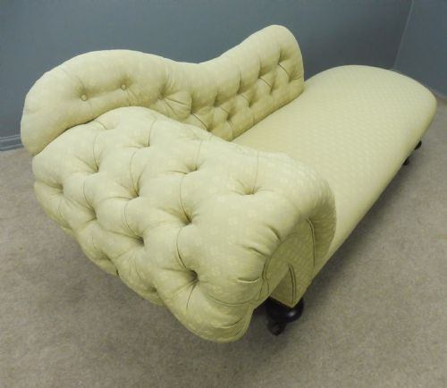 Viktorianische Chesterfield Chaiselongue Mahagoni original antik ca 1860
