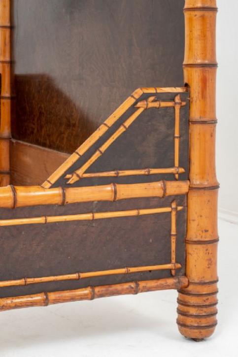 Französisches Regency Bambus Nussbaum Doppelbett antik 19. Jh