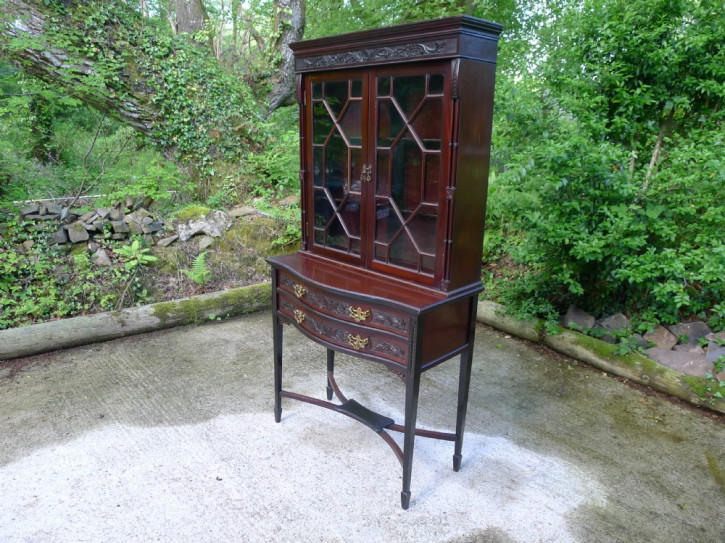 Viktorianische antike Vitrine Mahagoni Buffetschrank britisch ca 1890