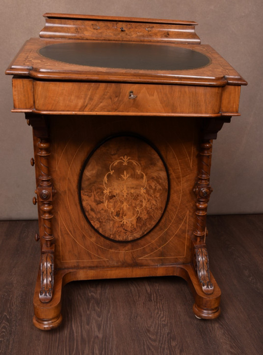 Viktorianischer antiker Davenport Schreibtisch Nussbaum englisch ca 1850