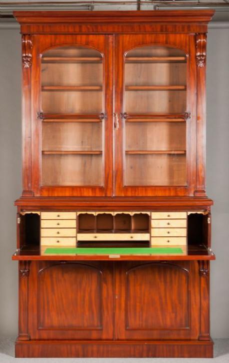 Viktorianisches britisches Mahagoni Bureau Bookcase antik ca 1870