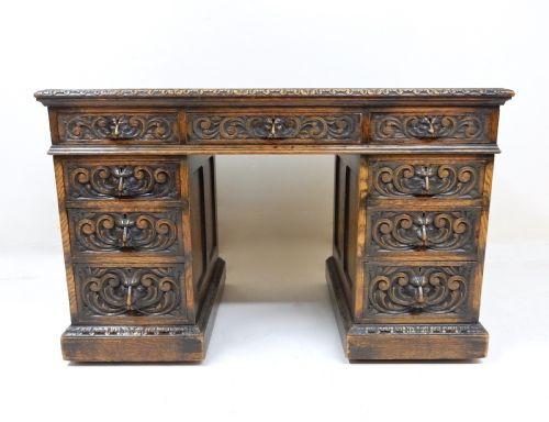 Antiker englischer Eichen Schreibtisch 19. Jh