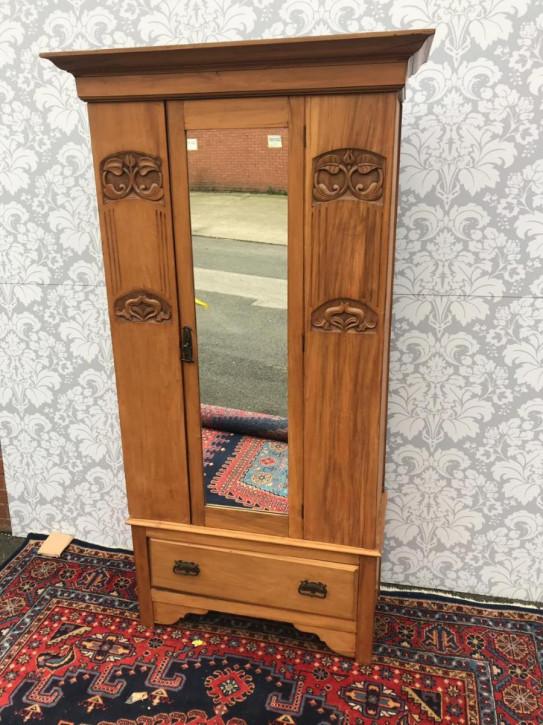 Edwardianischer antiker Satinholz Kleiderschrank englisch ca 1890