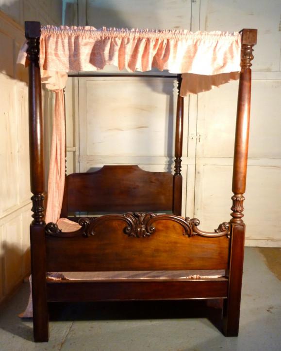 Viktorianisches antikes Mahagoni Himmelbett englisch ca 1850