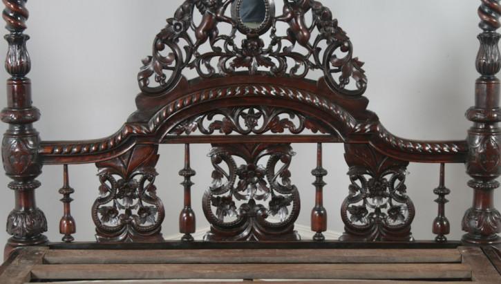 Antikes viktorianisches Massivholz Himmelbett anglo-indisch ca 1870