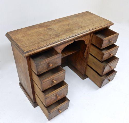 Edwardianischer antiker Eiche Schreibtisch britisch ca 1890