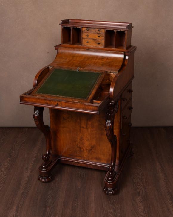 Viktorianischer antiker Davenport Schreibtisch Nussbaum britisch ca 1860