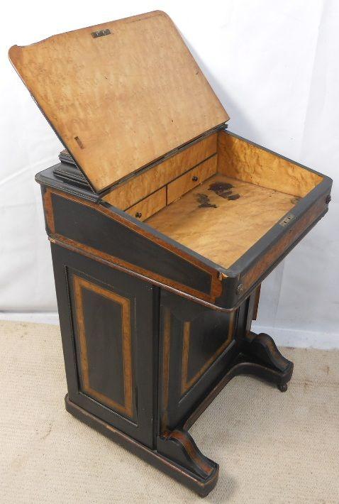 Viktorianischer antiker Davenport Schreibtisch Ebenholz englisch ca 1880