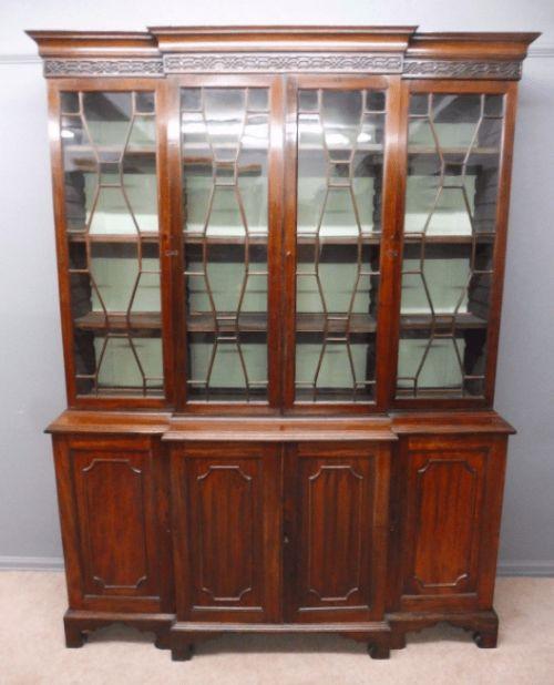 Viktorianischer Antiker Englischer Mahagoni Bibliotheken Bücherschrank ca. 1870