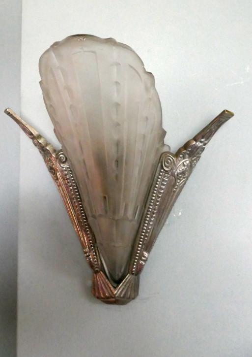 Antike Art Deco Wandlampen Glas Chrom britisch ca 1920