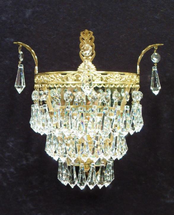 Antike italienische Art Deco Wandlampen Kristallglas Messing ca 1920