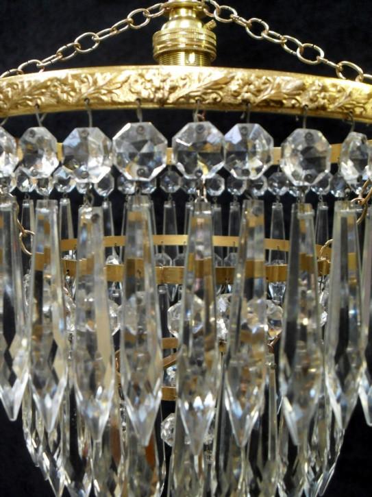 Italienischer antiker Art Deco Kronleuchter Kristallglas Messing ca 1930