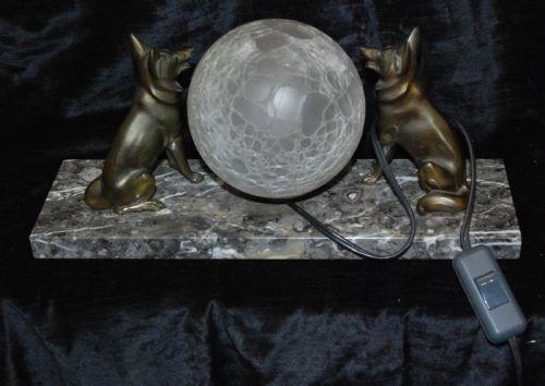 Britische Art Deco Kristallglas Lampe Skulpturen Figuren Marmor antik ca 1930