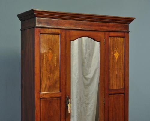 Edwardianischer antiker Mahagoni Kleiderschrank britisch ca 1890