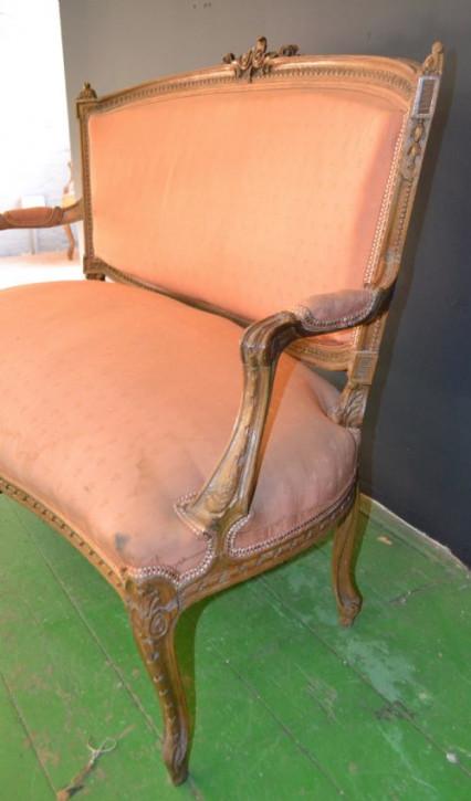 Französisches Sofa Nussbaum Stoff Couch antik ca 1890