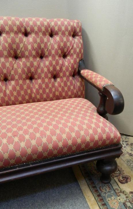 Antikes britisches Sofa Mahagoni Stoffsofa Couch ca 1880