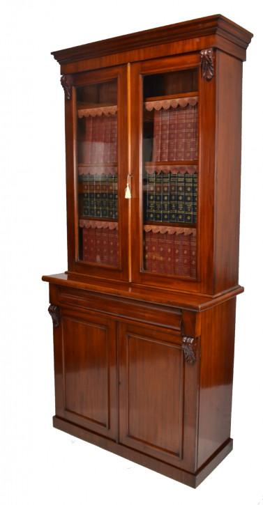 Viktorianischer antiker Mahagoni Bücherschrank ca 1870
