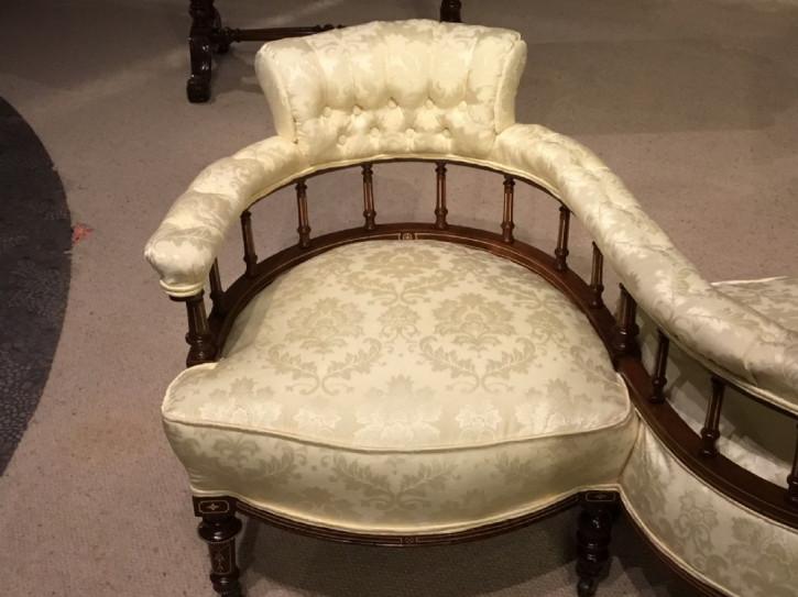 Edwardianisches antikes Mahagoni Sofa Tete a Tete Couch englisch ca 1900