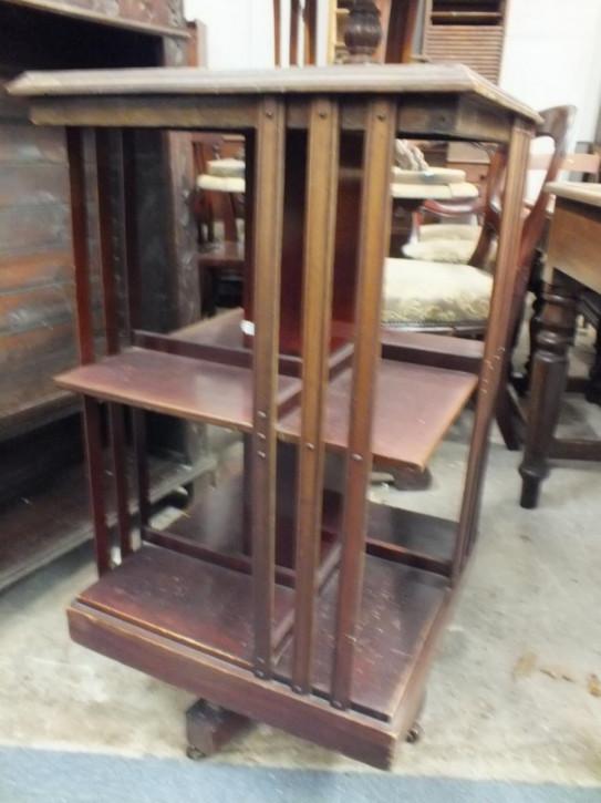 Antikes britisches Revolving Bookcase Mahagoni Bücherregal edwardianisch ca 1890