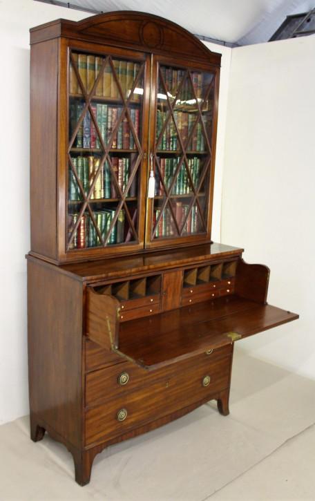 Georgianischer antiker Mahagoni Bureau Bookcase britisch ca 1800