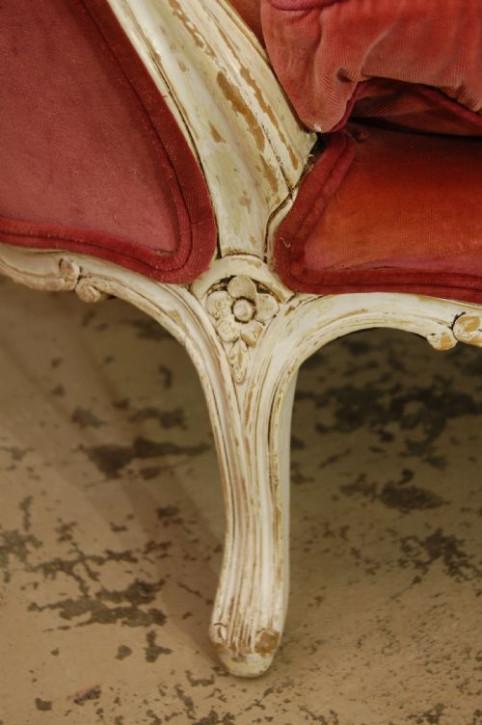 Antikes französisches Massivholz Sofa Stoff ca 19. Jh