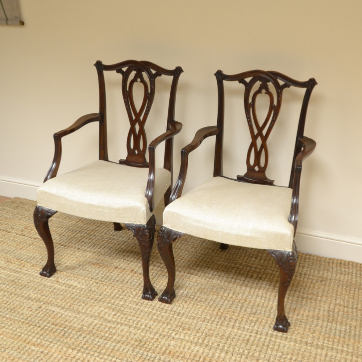 Antike britische Nussbaum Stühle edwardianisch ca 1900