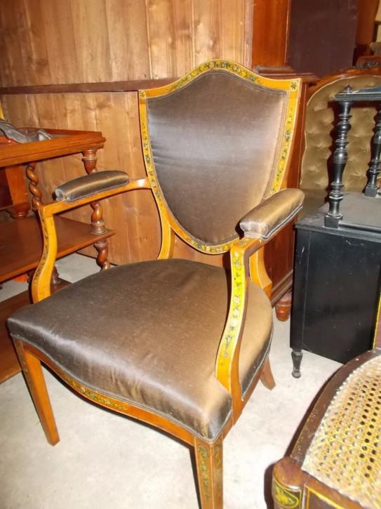 Antiker Massivholz Stuhl Sessel Stoff englisch ca 1900