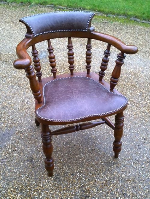 Viktorianischer britischer Massivholz Stuhl Leder antik ca 1860