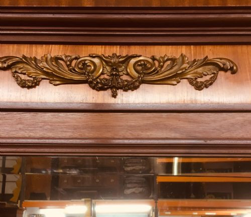 Antiker britischer Art Deco Kleiderschrank Mahagoni Satinholz ca 1912