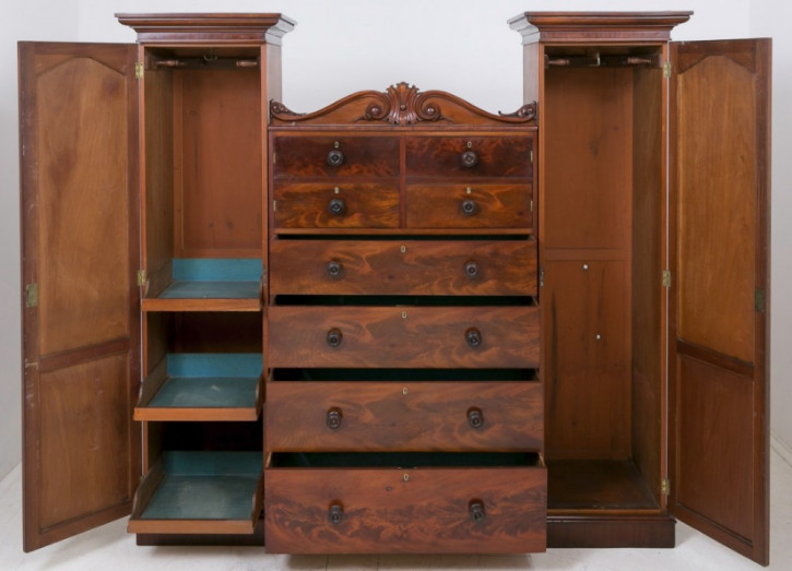 Antiker viktorianischer Mahagoni Kleiderschrank britisch ca 19. Jh
