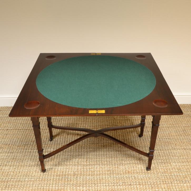 Viktorianischer Antiker Mahagoni Spieltisch von Hampton and Sons ca. 1890
