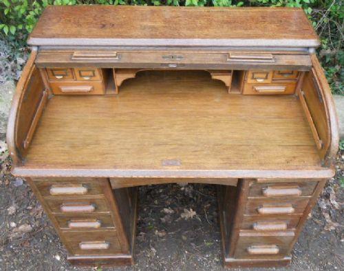 Antiker britischer Eichen Schreibtisch ca 1900