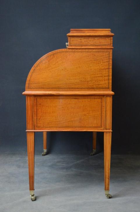 Viktorianischer antiker Satinholz Schreibtisch britisch ca. 1880