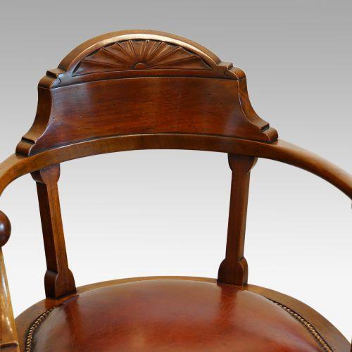 Edwardianischer antiker Mahagoni Drehstuhl englisch ca 1890