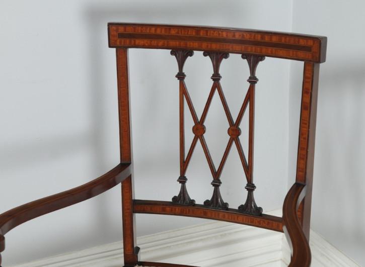 Edwardianische antike Mahagoni Stühle neoklassisch britisch circa 1900