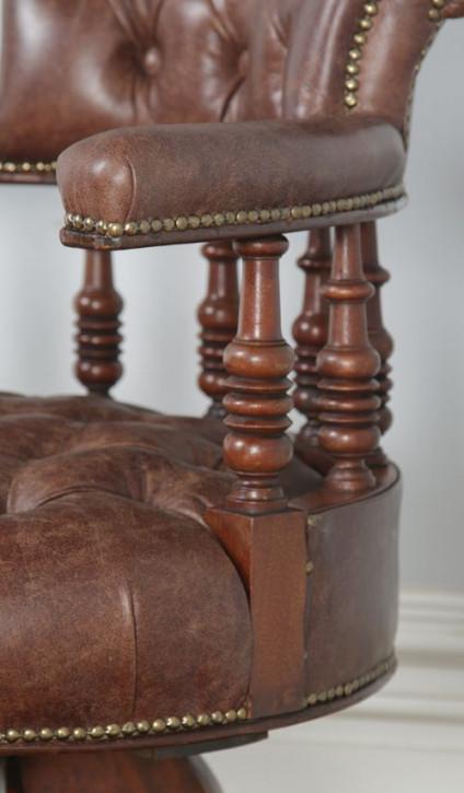 Viktorianischer antiker Nussbaum Bürostuhl Leder ca 1880