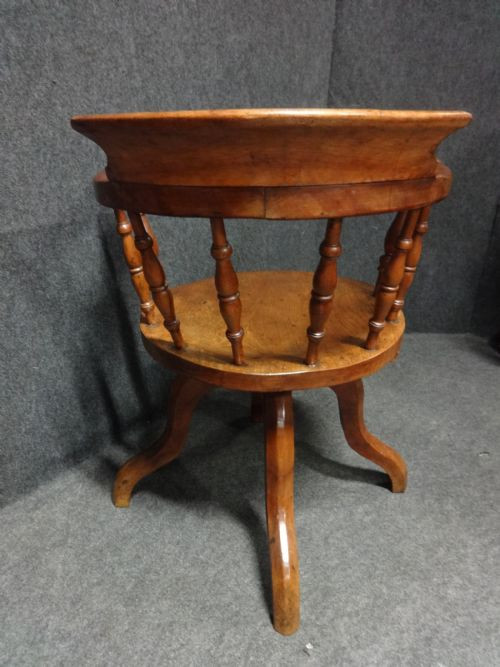 Viktorianischer antiker Mahagoni Schreibtischtuhl britisch ca 1880