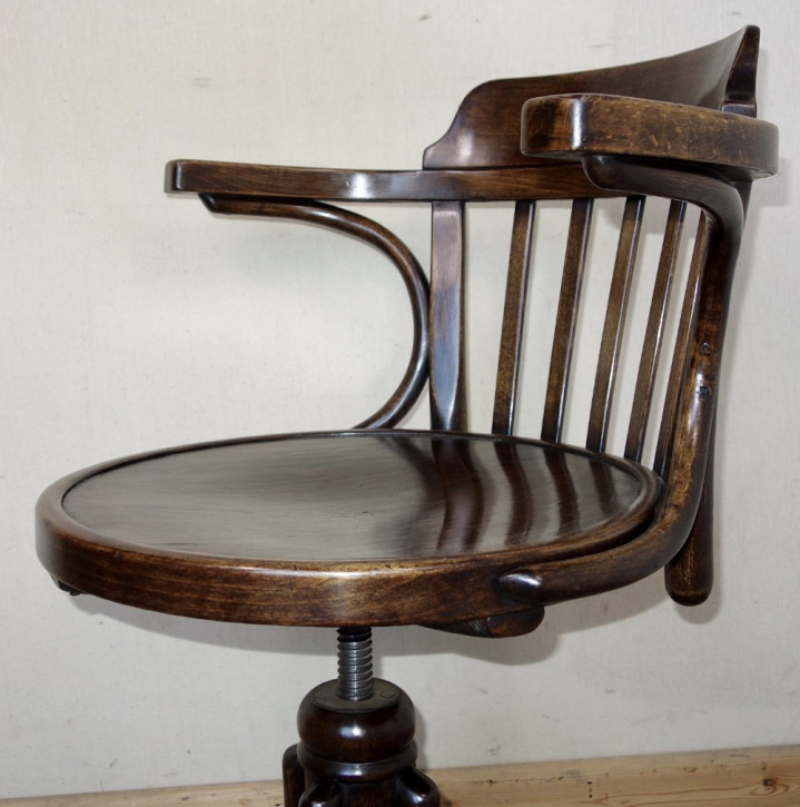 Massiver Antiker Bentwood drehbarer Schreibtischstuhl ca. 1920