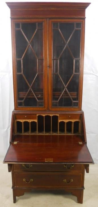 Edwardianischer antiker Mahagoni Aufsatzsekretär englisch ca 1900