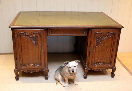 Antiker britischer Eichen Schreibtisch Partners Desk ca 1920