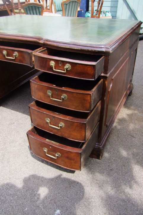 Englischer Massivholz Schreibtisch Mahagoni Partners Desk antik ca 1880