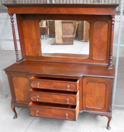 Edwardianischer antiker Mahagoni Sideboard englisch Mirrorback ca 1910