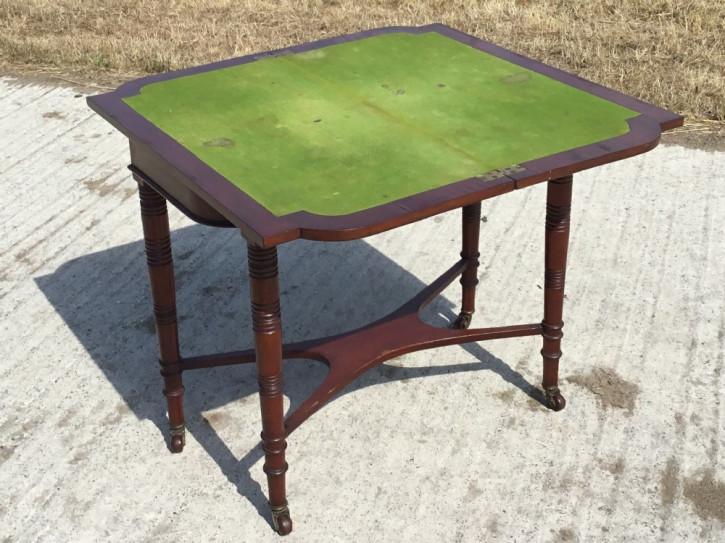 Antiker englischer Mahagoni Spieltisch Beistelltisch ca 1880
