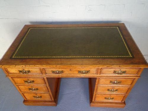 Antiker viktorianischer Eichen Schreibtisch britisch ca 1870