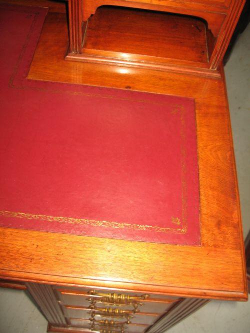 Original antiker Massivholz Schreibtisch Nussbaum englisch ca 1890