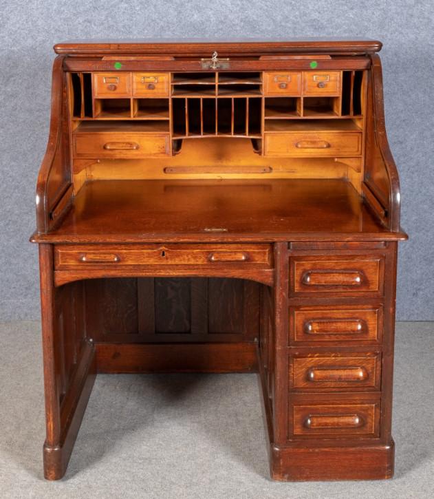 Britischer antiker Eichen Schreibtisch ca 1910