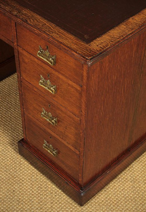 Edwardianischer antiker Eichen Schreibtisch englisch ca 1910