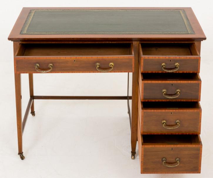 Antiker britischer Sheraton Revival Mahagoni Schreibtisch ca 1890