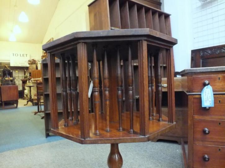 Antikes viktorianisches Revolving Bookcase Eiche ca 1880