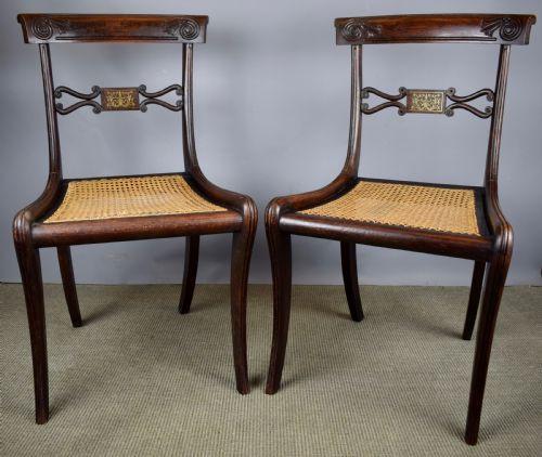 Paar Regencystühle mit Intarsien aus Palisanderimitat